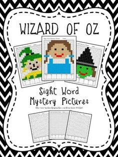 Wizard of Oz Mystery Pictures using sight words. Set of three detailed pictures featuring Dorothy, the Wicked Witch of the West, and the Scarecrow.
