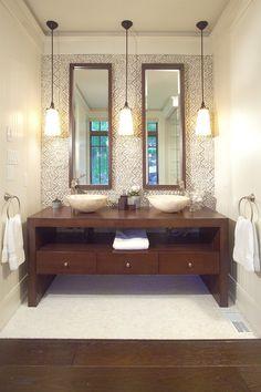 Muskoka Cottage - contemporary - bathroom - toronto - Studio H Design Bathroom Hanging Lights, Bathroom Pendant Lighting, Bathroom Vanity Lighting, Pendant Lights, Bathroom Fixtures, Ceiling Hanging, Pendant Lamps, Contemporary Bathrooms, Modern Bathroom