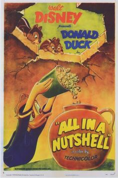 """All in a Nutshell"" 1949 Donald Duck and Chip 'n' Dale Disney Cartoon short movie poster"