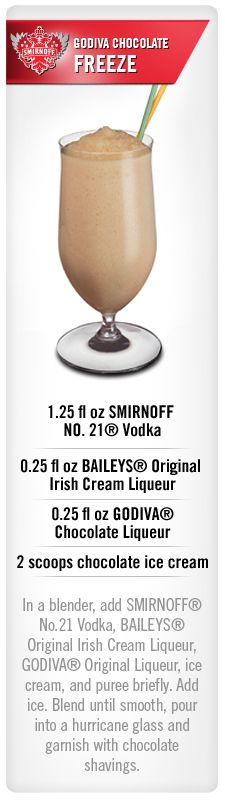 Smirnoff Godiva Chocolate Freeze drink recipe with Smirnoff NO. 21 vodka, baileys original irish cream liqueur, godiva chocolate liqueur and chocolate ice cream. Wonder if cake vodka would b too much? Vodka Drinks, Non Alcoholic Drinks, Party Drinks, Cocktail Drinks, Fun Drinks, Beverages, Cocktail Parties, Martinis, Frozen Drink Recipes