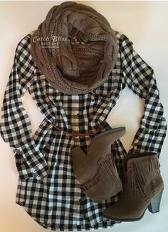 Simple Casual Fall Outfit With Gingham Dress, Mocha Scarf and Fringe Booties.