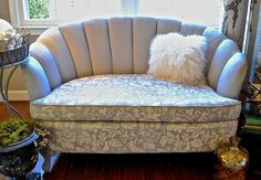 See how easy it is to Chalk Paint upholstery and even stencil it. Great technique for painting right over upholstered furniture to create a new color.