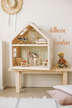 wooden DOLLHOUSE + FURNITURE, for pretend playing , birthday gift for baby, modern kidsroom decor Fun Kinderspielzeug Wooden Dollhouse, Dollhouse Furniture, Wood Toys, Nursery Decor, Furniture Sets, Kids Room, Decoration, Interior, Home