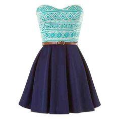 blue belted strapless tribal print skater dress (£19) ❤ liked on Polyvore