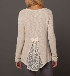 Easy jumper Hack - cut back of a sweater that's too small and insert lace. Cutting higher will make sweater looser in chest and neck. The wi...