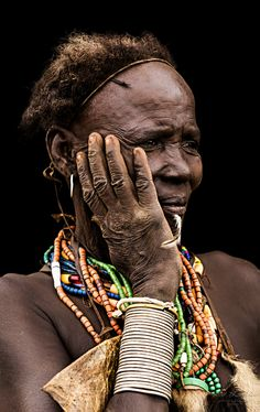 Old Woman from the Dassanech Tribe. Omo Valley, by Pit Buehler