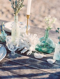 Beach wedding tabletop details | Nikki Santerre Photography | www.MadamPaloozaEmporium.com www.facebook.com/MadamPalooza