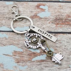 Inspire Steam Punk Keychain, Personalized Hand Stamped Vintage Keychain, Antique Key, Industrial, Gift for Her, Inspirational Key chain by TracyTayanDesigns on Etsy