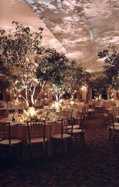 awesome lighting with trees in middle of tables