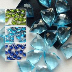 Hydro Quartz in fancy shape faceted in Blue Topaz, Aqua, Blue and Peridot Green Color. These uniquely manufactured pcs will add the perfect spark to your designs. Try these only on Gemsforjewels - Flat 55% off store wide!