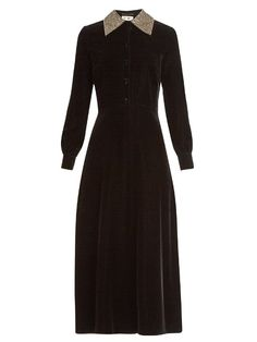 SAINT LAURENT Embellished-Collar Velvet Maxi Dress. #saintlaurent #cloth #dress