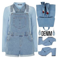 """""""All Denim, Head to Toe"""" by shoaleh-nia ❤ liked on Polyvore featuring Dorothy Perkins, Robert Clergerie, Skinnydip and Kenneth Cole"""