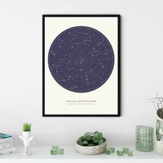 Framed Wall Art Canvas Bears Astrological Geometric Design Cloud Island Nursery