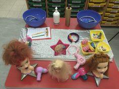 Table top small world role play hair salon