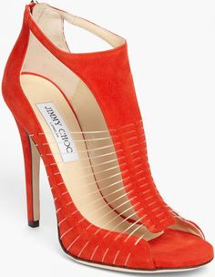 Jimmy Choo Taste Suede & Wire T-Strap Sandals in Red