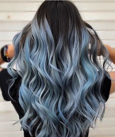 Blue Hair Highlights For Black Hair . Blue Hair Highlights blue hair highlights for black hair ~ bl Cute Hair Colors, Hair Dye Colors, Hair Color For Black Hair, Ombre Hair Color, Cool Hair Color, Pastel Ombre Hair, Grey Hair Wig, Black Hair Dye, Dye My Hair