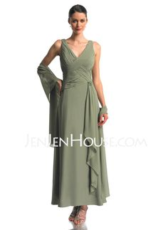 A-Line/Princess V-neck Ankle-Length Chiffon Mother of the Bride Dresses With Ruffle (008006238)