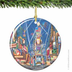 Times Square Porcelain Christmas Ornament Relive the excitement and colors of Times Square with this New York City porcelain Christmas ornament. (http://www.nycwebstore.com/chuck-fischers-times-square-porcelain-christmas-ornament/)