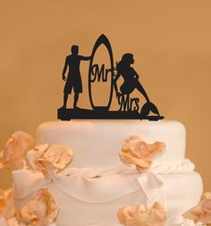 This surfer and mermaid Mr. and Mrs. wedding cake topper is made from food safe acrylic and we have many colors to choose from. This cake