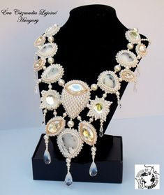 Check out Bead Embroidery  Collar Necklace   White,  Rosegold ,  Swarovski  Dendrite opal, Wedding . Summer wedding on vicus
