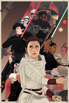 Star Wars The Force Awakens VII Phasma Rey Kylo Han TIE art print movie poster