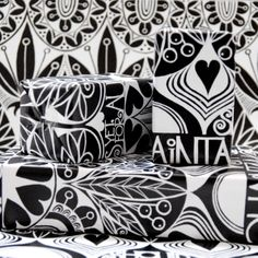 Wrapping it all up in Susan's beautiful designs. Wrapping, Christmas Ideas, Black And White, Beautiful, Design, Black N White, Black White, Gift Packaging