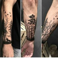 64 New Ideas Tattoo Sleeve Forest Posts Wolf Tattoos, Hand Tattoos, Tattoos Arm Mann, Forarm Tattoos, Cool Forearm Tattoos, Arm Tattoos For Guys, Trendy Tattoos, Body Art Tattoos, Tree Sleeve Tattoo