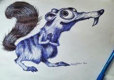 Ice Age. Cuando me aburro ! Realizado a bolígrafo azul y negro.