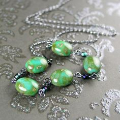 Turquoise Green Necklace Antiqued Sterling Silver by DorotaJewelry