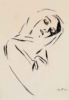 Портрет женщины в платке. 52 x 38 см. акварель, кисть и тушь, бумага. Частная коллекция. Kees van Dongen