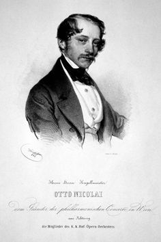 Otto Nicolai, por Josef Kriehuber, 1842. Carl Otto Ehrenfried Nicolai (9 June 1810 – 11 May 1849) was a German composer, conductor, and founder of the Vienna Philharmonic. Nicolai is best known for his operatic version of Shakespeare's comedy The Merry Wives of Windsor as Die lustigen Weiber von Windsor. In addition to five operas, Nicolai composed lieder, works for orchestra, chorus, ensemble, and solo instruments. Compôs 235 obras musicais