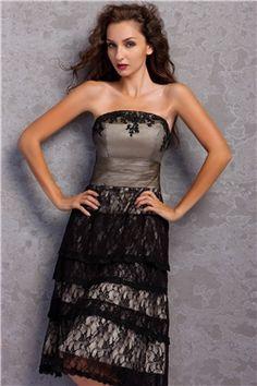Stunning Column Knee Length Strapless Miriamas Evening Cocktail Dress