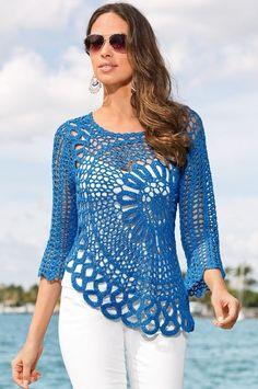 Boston Proper Daring crochet sweater - New In Tops Diy Crochet Sweater, Crochet Jacket, Lace Sweater, Crochet Cardigan, Crochet Shawl, Crochet Clothes, Knit Crochet, Sweater Dresses, Crochet Designs
