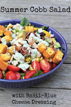 Summer Cobb Salad with Basil-Blue Cheese Dressing and Cornbread Croutons