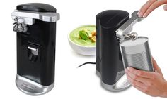 Never struggle opening cans again with this electric gadget which can function as a can, bottle and bag opener as well as a knife sharpener Knife Sharpening, Kitchen Gadgets, Can Opener, Canning, Electric, Design, Bottle, Bag, Purse