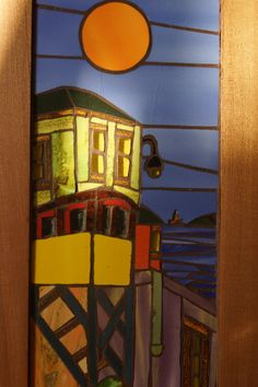 Cuadro Valparaiso Mosaic Glass, Mosaic Tiles, Mosaics, Stained Glass Designs, Find Objects, Chile, Landscape Paintings, Diy And Crafts, Fine Art
