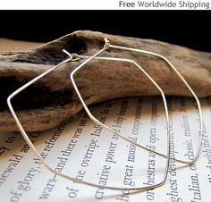 Diamond Shaped Hoop Earrings  Geometric Hoops  by NadinArtDesign, $34.00 Silver Bangle Bracelets, Bangles, Geometric Jewelry, Diamond Shapes, Sterling Silver Earrings, Hoop Earrings, Gold, Etsy, Modern