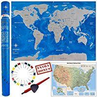 Scratch off world travel poster map- Deluxe edition: Personalized large laminated watercolor world scratch off map with Bonus- US travel map with states   Flag pins to mark places   2 Map scratchers ** More info could be found at the image url.