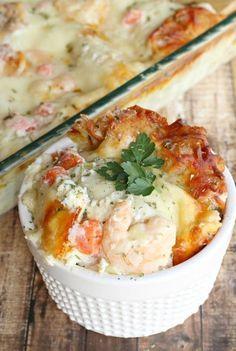 Shrimp Scampi Lasagna - Life a Little Brighter Fish Recipes, Seafood Recipes, Great Recipes, Cooking Recipes, Favorite Recipes, Shrimp Dishes, Fish Dishes, Pasta Dishes, Shrimp Lasagna