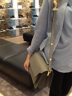 In #boutique e online #marni  http://www.thegallerya.com/boutiquesco/grey-calf-leather-shoulder-bag-from-marni-featuring-a-foldover-top-with-clasp-closure.html