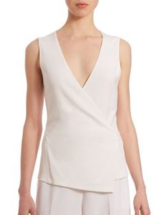 THEORY Karlista Crepe Cross-Over Sleeveless Top. #theory #cloth #top