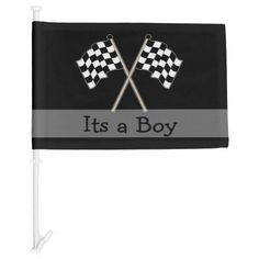 Checkered Flag Black And White Its A Boy Baby Car Flag Personalize this unique its a boy baby shower car flag for the expecting parents featuring a black and white checkered flag and black background. Great gift for the expectant mother and father who are auto or motorcycle race car fans, driver, team mechanic or coach. Put it on the car for the ride home !