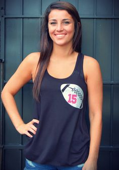 Custom personalized football flowy racerback tank mom's team name Game Day Chic Clothing http://www.gamedaychicclothing.com/game-ball-custom-football-tank/