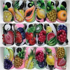 Fruit Nail Art, Fruit Art, 3d Nail Art, Spring Nail Art, Spring Nails, Summer Nails, Fruit Nail Designs, Nail Art Designs Images, Acrylic Nails Stiletto
