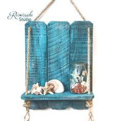 Rustic Wood Wall Shelf Handcrafted Blue Nautical Rope Shelf This rope shelf is made from 100% solid reclaimed eco-friendly wood. I use handmade quality chalk paint on all my pieces. This adorable shelf is perfect for a nautical theme but also is a great addition to any rustic,