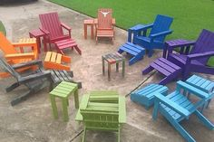 Colored adirondacks. This will work for the chairs we are making with the pallets. Very cheerful.