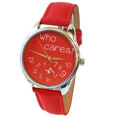 'Who Cares!' Wristwatch - Red | ZIZ iz TIME