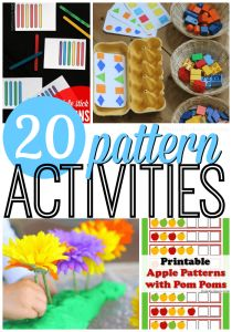 Recognizing and completing patterns is a fundamental part of learning early math skills for preschoolers. Here are 20 of our favorite ways to practice this skill!
