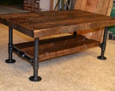 Reclaimed barn wood coffee table with a Semi Gloss Polyurethane and walnut wood finish. Dimensions 40 Lx 20 Wx 17 18 H The legs are made out of 1 2 galvanized pipe for stability and durability. Pitcher is an example each project is custom built. Industrial Table, Industrial Furniture, Outdoor Furniture, Barn Wood Furniture, Vintage Industrial, Industrial Metal, Furniture Vintage, Rustic Table, Furniture Design