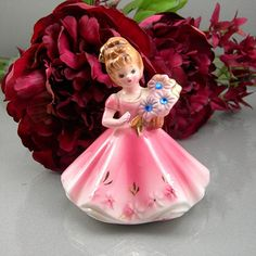Vintage Josef Originals Figurine Girl for September Pink Dress Made in Japan Circa 1960-70s Collectible Birthday Girl
